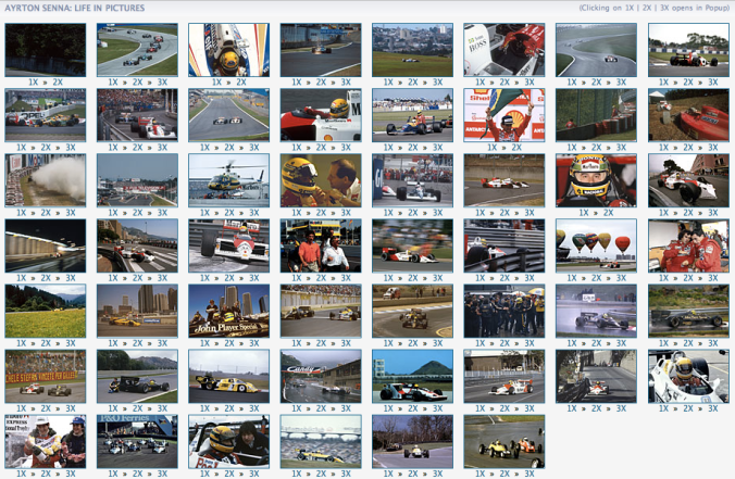 Screenshot of the Ayrton Senna 50th birthday photo gallery at Autosport.com