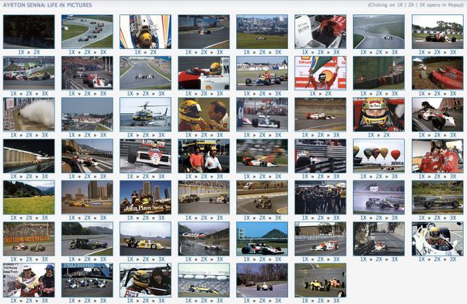 Screenshot of the Ayrton Senna 50th birthday photo gallery at Autosport.com