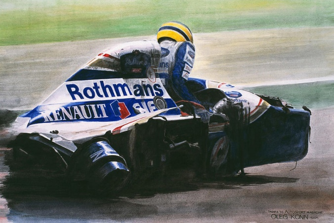 Picture of Ayrton Senna climbing out of shattered Williams-Renault, by Oleg Konin